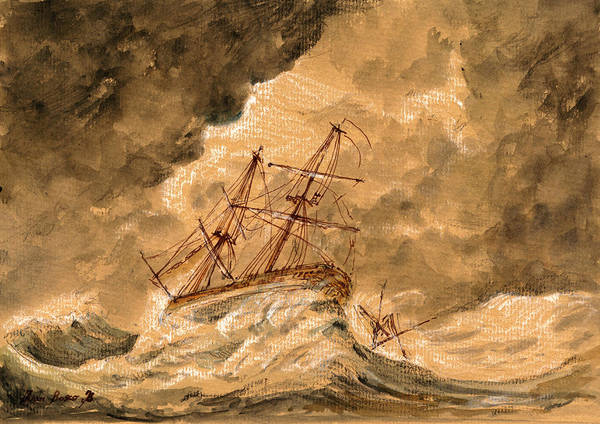 Ship Painting - Stormy Sea  by Juan  Bosco