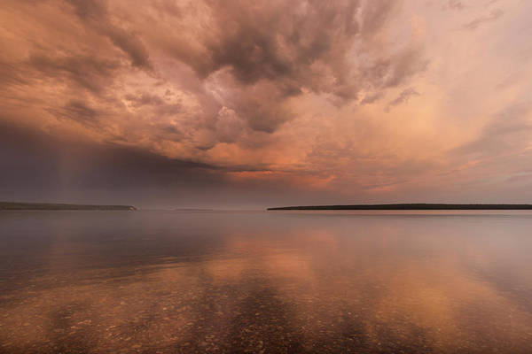 National Lakeshore Wall Art - Photograph - Stormy Skies At Sunrise Over Lake by Chuck Haney