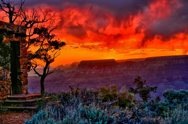 Grand Canyon Photograph - Stormy Sunset At The Watchtower by Greg Norrell