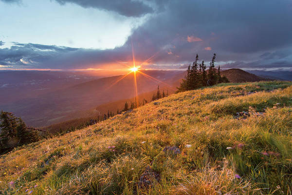 Stillwater Wall Art - Photograph - Stormy Sunset Over The Whitefish Range by Chuck Haney