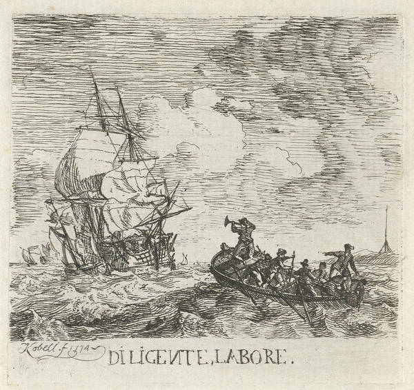 Stormy Drawing - Stormy Water With Various Boats, Hendrik Kobell by Artokoloro