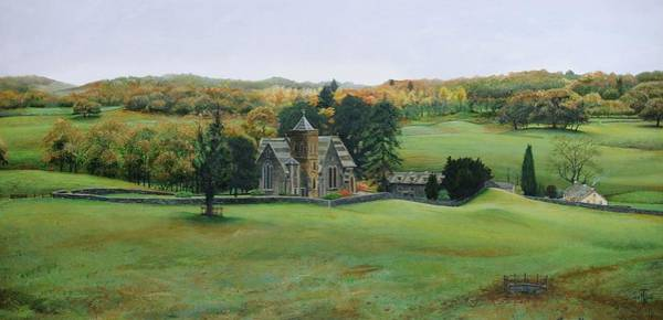 English Countryside Photograph - St.peters Church, Cumbria, 2003 Oil On Canvas by Trevor Neal