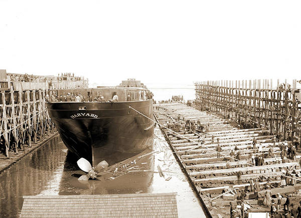 Michigan Drawing - Str. Harvard In The Slip, Detroit, Harvard Freighter, Cargo by Litz Collection