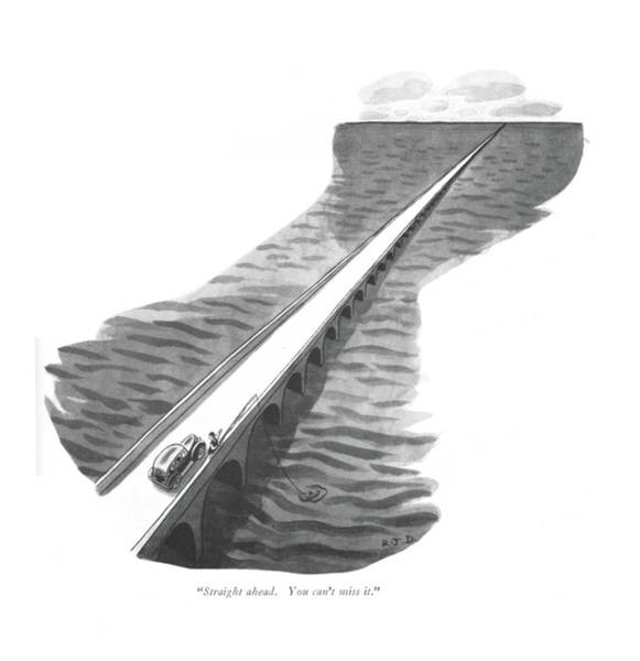 Watering Can Drawing - Straight Ahead. You Can't Miss It by Robert J. Day