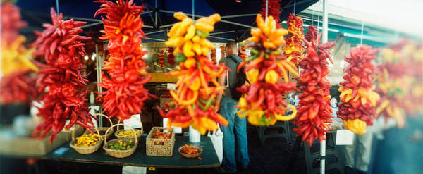 Pikes Place Photograph - Strands Of Chili Peppers Hanging by Panoramic Images