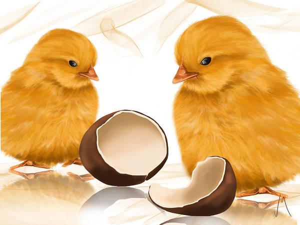 Chick Painting - Strange Egg by Veronica Minozzi