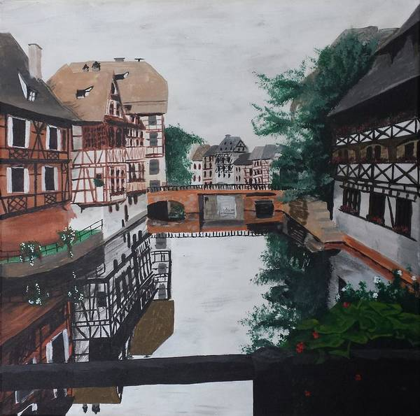 Half Timbered Painting - Strasbourg On The River by James Buckheit
