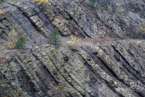 Photograph - Strata In The Sideling Hill Syncline Geological Formation In Maryland by William Kuta