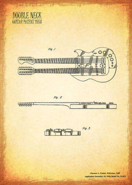 Stratocaster Photograph - Stratosphere Double Neck Guitar Patent by Mark Rogan