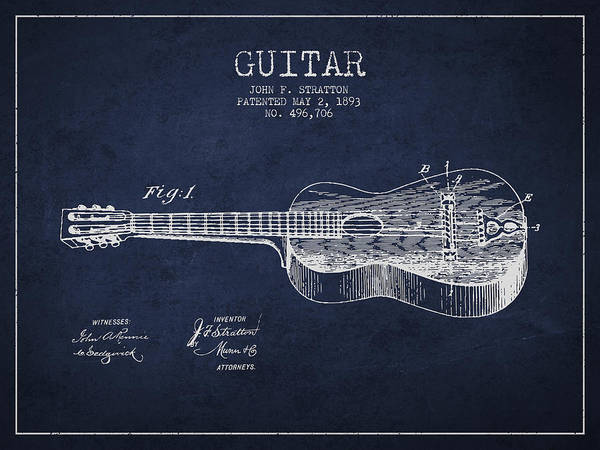 Wall Art - Digital Art - Stratton Guitar Patent Drawing From 1893 by Aged Pixel
