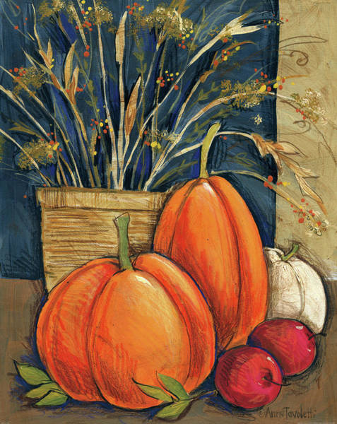 Autumn Wall Art - Painting - Straw Basket by Anne Tavoletti
