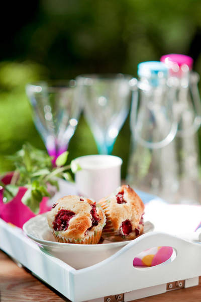 Tray Photograph - Strawberries And White Chocolate Muffins by Kemi H Photography