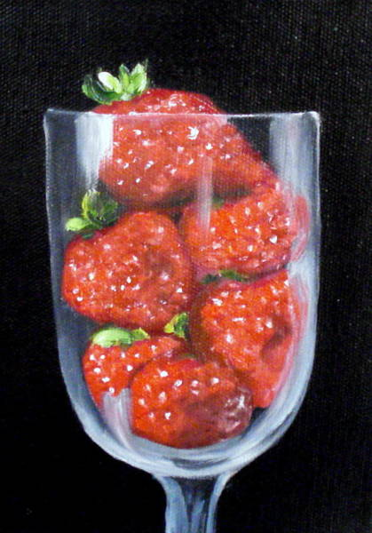 Painting - Strawberries In Goblet Sold by Susan Dehlinger