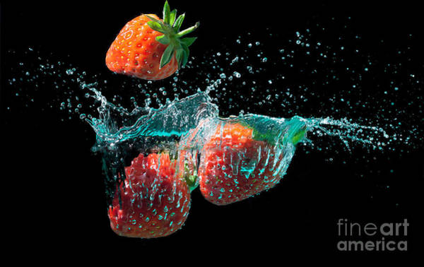 Wall Art - Photograph - Strawberries Splashed Into Water by Simon Bratt Photography LRPS