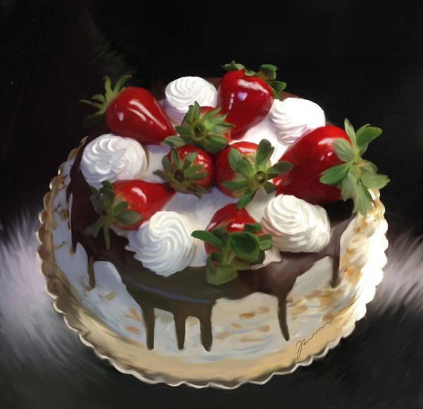 Photograph - Strawberry Cake by Jean Pacheco Ravinski