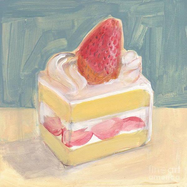 Painting - Strawberry Cake by Kazumi Whitemoon