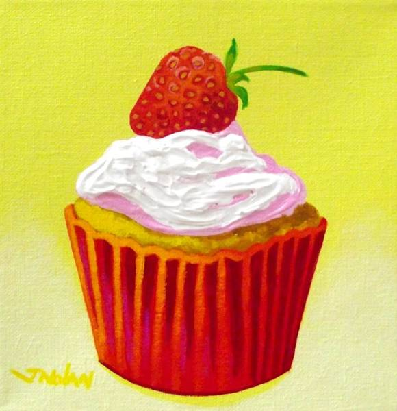 Icing Painting - Strawberry Cupcake by John  Nolan