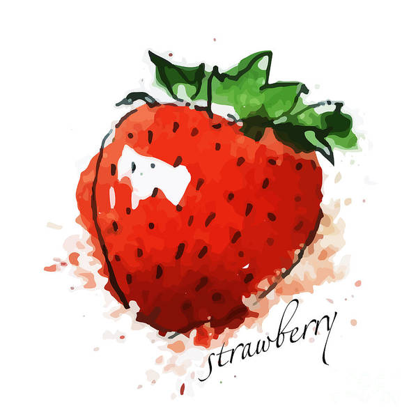 Natural Digital Art - Strawberry by Dakalova Iuliia