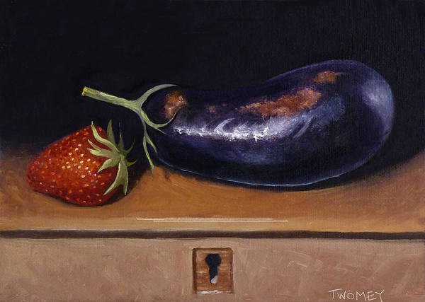 Alla Prima Painting - Strawberry Eggplant Locked by Catherine Twomey