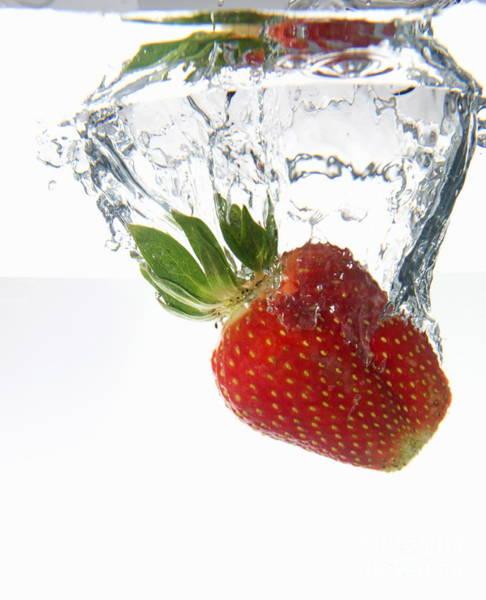 Wall Art - Photograph - Strawberry Fruit Splashing Underwater by Sami Sarkis