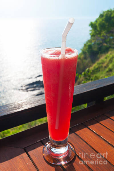 Cocktail Lounge Photograph - Strawberry Smoothie Soda by Atiketta Sangasaeng