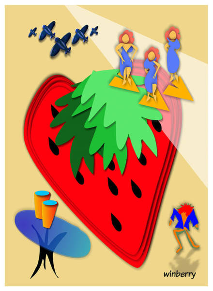 Digital Art - Strawberry Wars by Bob Winberry