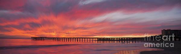 Photograph - Streaking Sunset At Ventura Pier Panoramic by Dan Friend
