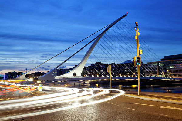 River Liffey Wall Art - Photograph - Streaks Of Vehicle Headlights On Road by Panoramic Images