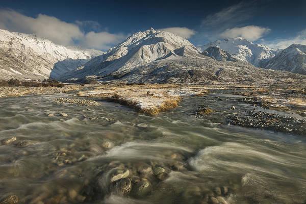 Ohau Wall Art - Photograph - Stream Below Ben Ohau Range Mount Cook by Colin Monteath
