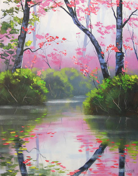 Pink Blossom Painting - Stream Reflections by Graham Gercken