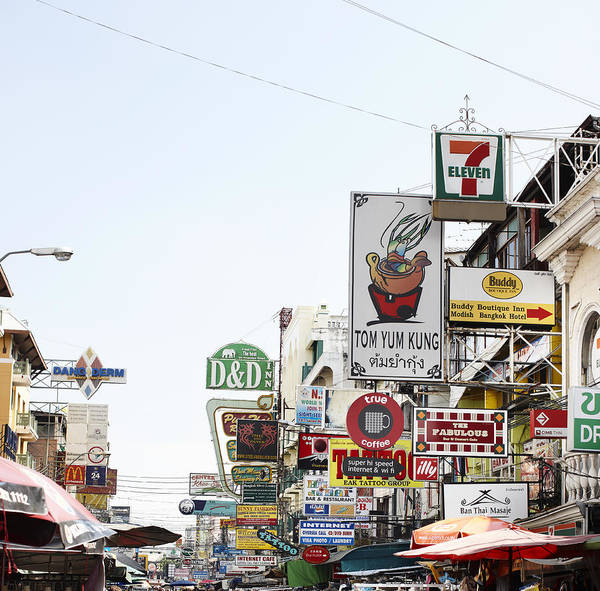 Placard Photograph - Street Advertising In Bangkok by Niels Busch