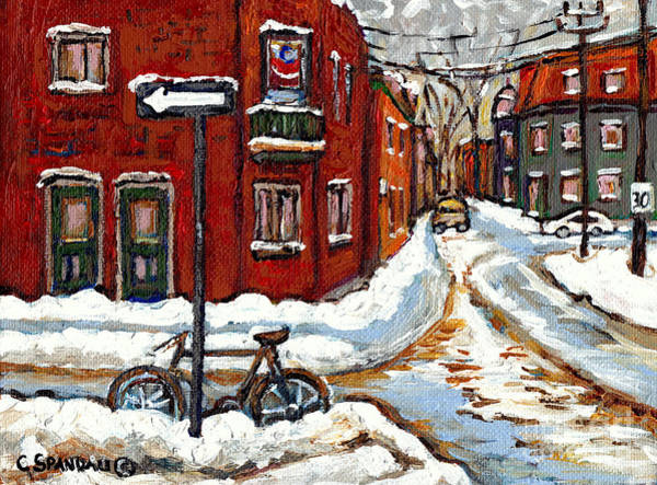 Pointe St Charles Painting - Canadian Art Winter Bicycle In February Snowy Day In The Pointe Montreal Painting City Scene by Carole Spandau