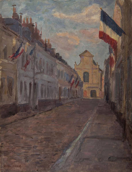 Deck Painting - Street Decked With Flags by Henri Duhem