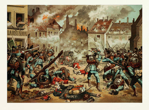 Wall Art - Drawing - Street Fight In Bazeilles On The First Of September by French School