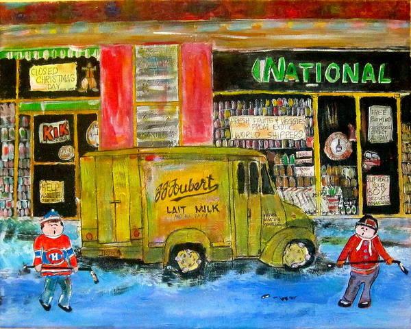 Wall Art - Painting - Street Hockey And Milkman by Michael Litvack