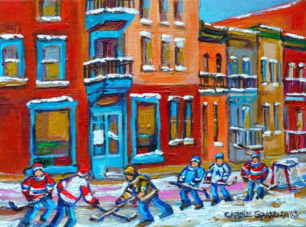 Diners Club Painting - Street Hockey Game At Wilenskys Montreal Winter Street Scene Paintings Carole Spandau by Carole Spandau