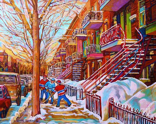 Montreal Street Scene Painting - Street Hockey Game In Montreal Winter Scene With Winding Staircases Painting By Carole Spandau by Carole Spandau