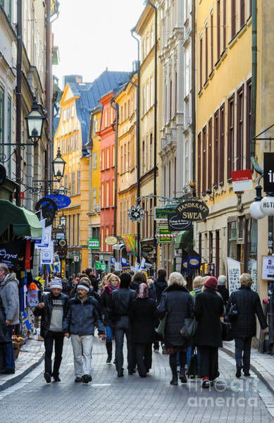 Photograph - Street In Gamla Stan - The Old Part Of Stockholm - Sweden by David Hill