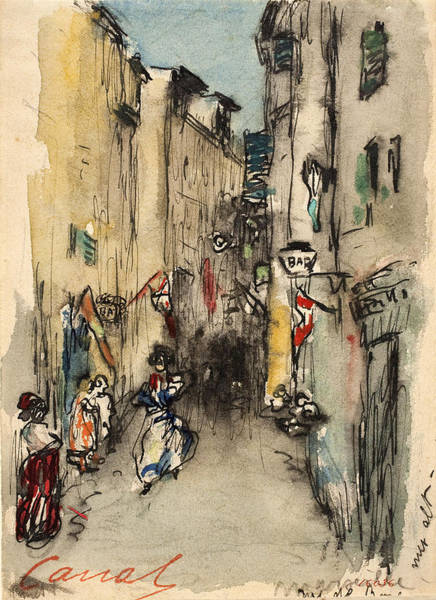 Impressionistic Drawing - Street In Marseille by Ricard Canals