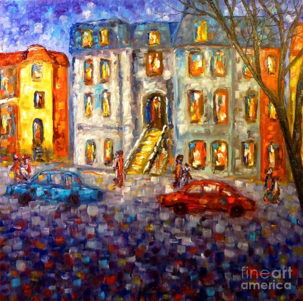 Wall Art - Painting - Street In Montreal At Dusk by Cristina Stefan