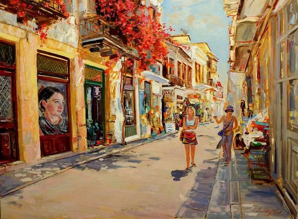 Peloponnese Painting - Street In Nafplio Greece by Sefedin Stafa