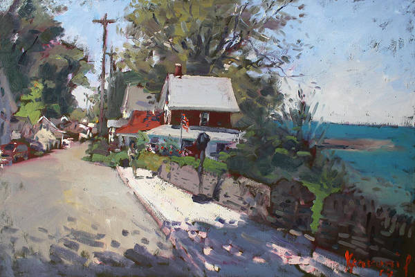Lake House Painting - Street In Olcott Beach  by Ylli Haruni