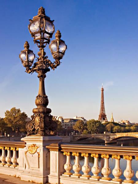 Photograph - Street Lamp On Pont Alexandre IIi / Paris by Barry O Carroll