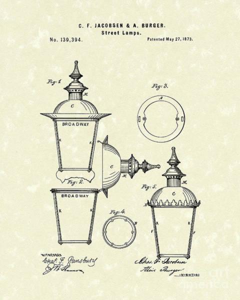 Drawing - Street Lamp 1873 Patent Art by Prior Art Design