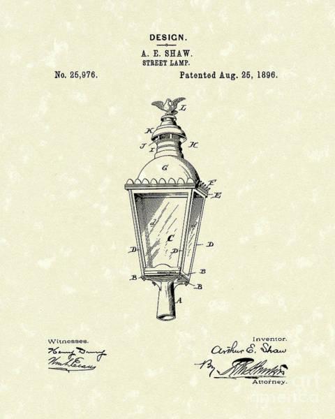 Drawing - Street Lamp 1896 Patent Art by Prior Art Design