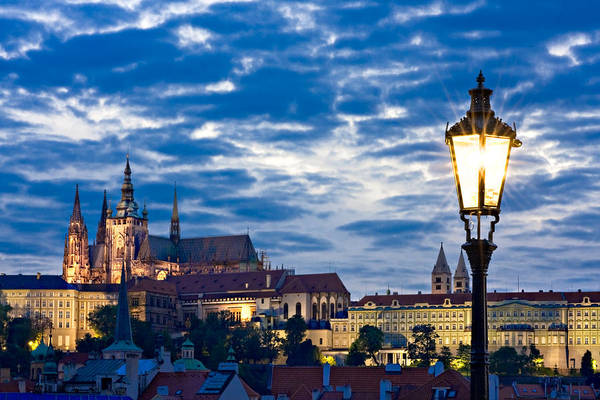 Photograph - Street Lamp On The Charles Bridge / Prague by Barry O Carroll