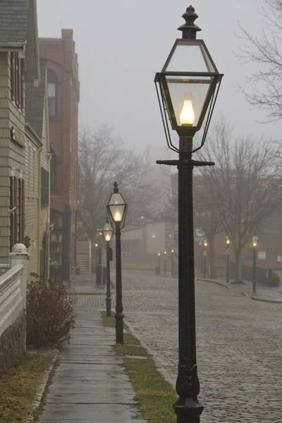 Photograph - Street Lamps On Johnny Cake Hill by Paul and Janice Russell