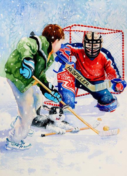 Boys Playing Hockey Painting - Street Legal by Hanne Lore Koehler