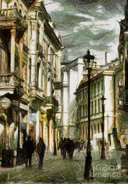 Pastel - Street Life In Bucharest Romania - Painting by Daliana Pacuraru
