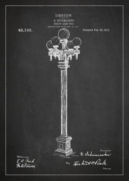 Candles Digital Art - Street Light Post Patent Drawing From 1904 by Aged Pixel